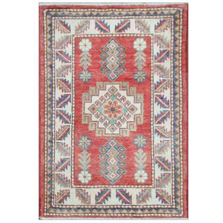 Herat Oriental Afghan Hand-knotted Tribal Super Kazak Red/ Ivory Wool Rug (2'2 x 3'2)