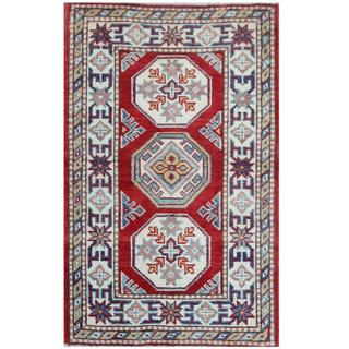 Herat Oriental Afghan Hand-knotted Tribal Super Kazak Red/ Ivory Wool Rug (2'1 x 3'3)