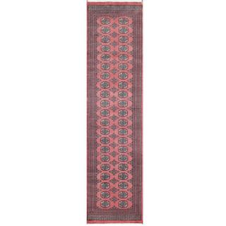 Herat Oriental Pakistani Hand-knotted Tribal Bokhara Pink/ Black Wool Rug (2'7 x 10')