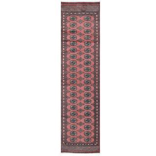 Herat Oriental Pakistani Hand-knotted Tribal Bokhara Pink/ Black Wool Rug (2'7 x 9'7)