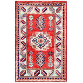 Herat Oriental Afghan Hand-knotted Tribal Super Kazak Wool Rug (2'1 x 3'3)