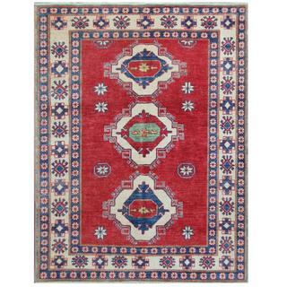 Herat Oriental Afghan Hand-knotted Tribal Kazak Red/ Ivory Wool Rug (4'5 x 5'9)