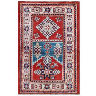 Herat Oriental Afghan Hand-knotted Tribal Super Kazak Wool Rug (2'7 x 3'10)
