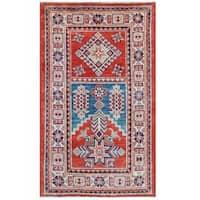 Handmade Herat Oriental Afghan Tribal Super Kazak Wool Rug (Afghanistan) - 2'7 x 4'4