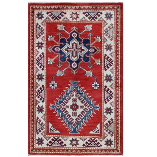 Herat Oriental Afghan Hand-knotted Tribal Super Kazak Red/ Ivory Wool Rug (2'6 x 4'2)