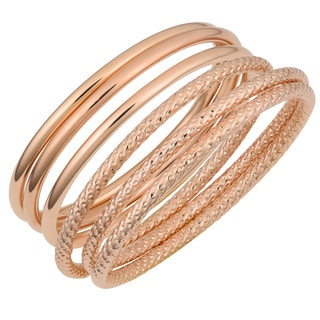 Oro Rosa 18k Rose Gold over Bronze Italian 3-piece Slip-on Bangle Set