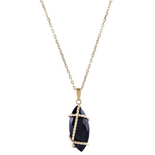 14k Yellow Gold Black Onyx Marquise Wire Wrapping Necklace