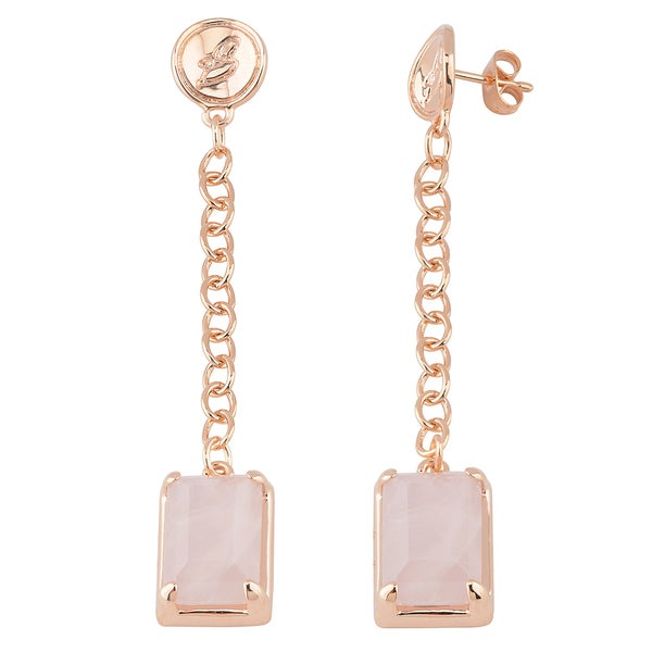 Oro Rosa 18k Rose Gold over Bronze Italian Rose Quartz Dangle