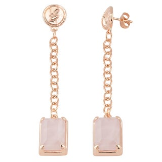 Oro Rosa 18k Rose Gold over Bronze Italian Rose Quartz Dangle Earrings