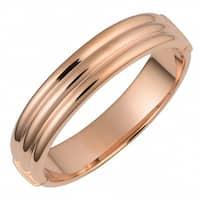 Oro Rosa 18k Rose Gold over Bronze Italian High Polish Trinity Design Bangle