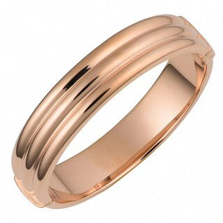 Oro Rosa 18k Rose Gold over Bronze Italian High Polish Trinity Design Bangle