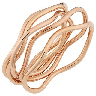 Oro Rosa 18k Rose Gold over Bronze Italian High Polish 5-piece Wavy Slip-on Bangle Set