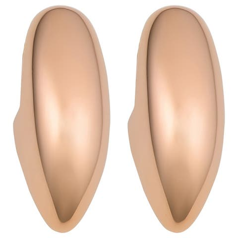 Oro Rosa 18k Rose Gold over Bronze Italian Puffed Elongated Stud Earrings