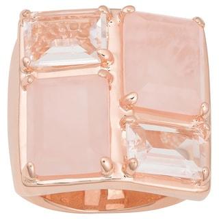 Oro Rosa 18k Rose Gold over Bronze Rose Quartz and White Crystal Ring