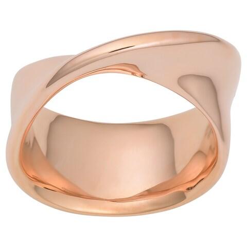 Oro Rosa 18k Rose Gold over Bronze Italian High Fashion Twist Ring