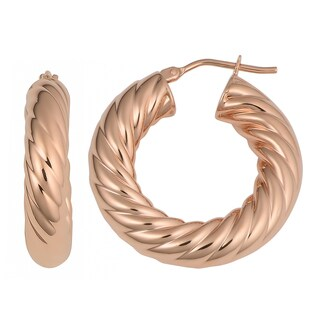 Oro Rosa 18K Rose Goldplated Bronze Twisted Hoop Earrings
