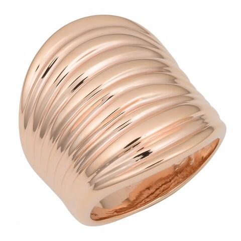 Oro Rosa 18k Rose Gold over Bronze Italian Rippled Ring