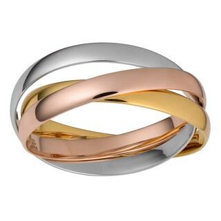 Oro Rosa 18k Tri-color Gold over Bronze Italian Fashion Rolling Bangles