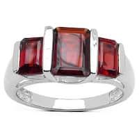 Olivia Leone Sterling Silver 3.4ct Garnet Ring - Red