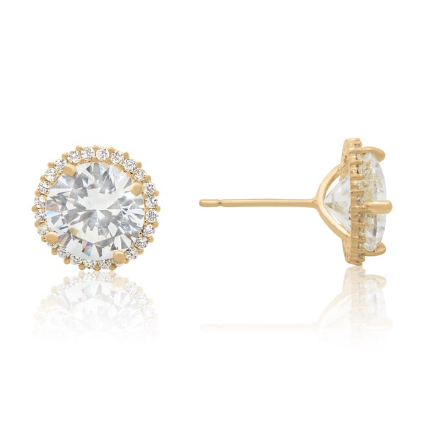 2753a6179 Shop Gioelli 10k Gold 4.1ct Cubic Zirconia Round Halo Stud Earrings ...