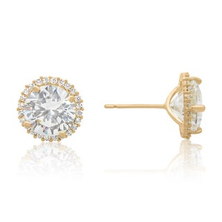 Gioelli 10k Gold 4.1ct Cubic Zirconia Round Halo Stud Earrings