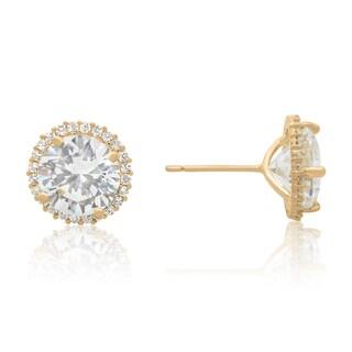 Gioelli 10k Gold 4.1ct Cubic Zirconia Round Halo Stud Earrings