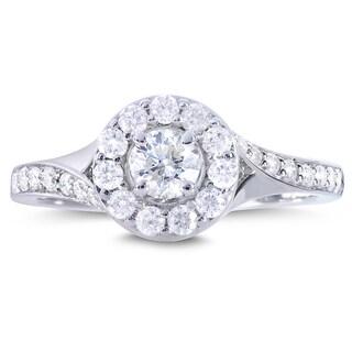 Annello by Kobelli 14k White Gold 4/5ct TDW Round Diamond Halo Engagement Ring