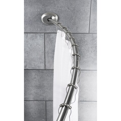 Maytex Smart Curved No-Drill Shower Curtain Tension Rod - Brushed nickel - 50 inches-72 inches