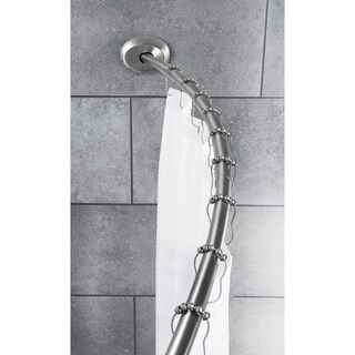 Maytex Smart Curved No-Drill Shower Curtain Tension Rod - Brushed nickel