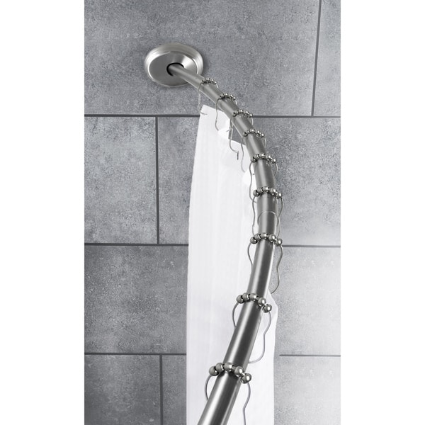 Maytex Smart Rod Dual Mount Curved Shower Curtain Brushed Nickel