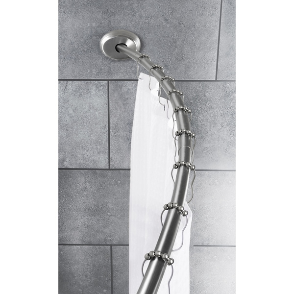 Bon Shop Maytex Smart Rod Dual Mount Curved Shower Curtain Rod   Brushed Nickel    50 Inches 72 Inches   Free Shipping On Orders Over $45   Overstock    9977172