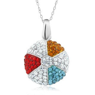 Platinum-plated Crystal Beach Ball Pendant Necklace