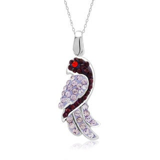Platinum-plated Crystal Dove Pendant Necklace