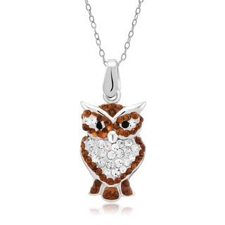 Platinum-plated Crystal Owl Pendant Necklace