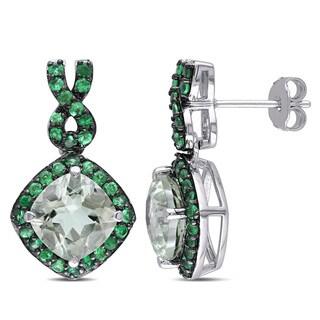 Miadora Sterling Silver Green Amethyst Tsavorite Infinity Earrings