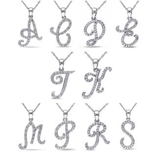 Miadora 10k White Gold 1/6ct TDW Diamond Initial Necklace (More options available)