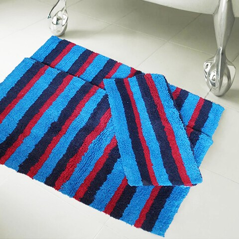100-percent Cotton Multi Stripe 20-inch x 32-inch Bath Rugs (Set of 3)