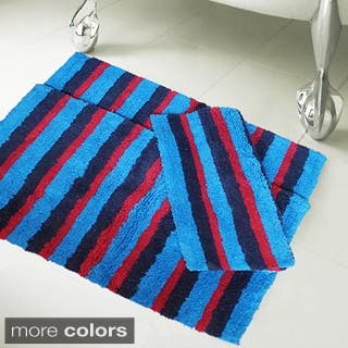 Clearance 100 Percent Cotton Multi Stripe 20 Inch X 32 Bath Rugs