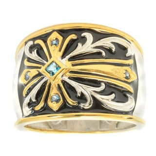 Michael Valitutti Gold Overlay Men's Black Enamel and Blue Topaz Ring