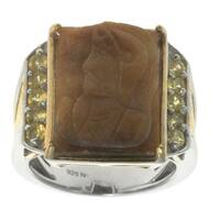 Michael Valitutti Gold over Silver Carved Tiger's Eye Yellow Sapphire Ring