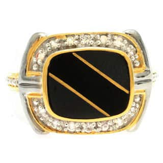 Michael Valitutti Gold over Silver Men's Black Onyx Gold Inlay White Sapphire Ring|https://ak1.ostkcdn.com/images/products/9977232/P17129134.jpg?impolicy=medium