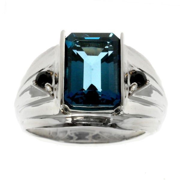 black single men in topaz Sterling silver crossover ring with 30 round single cut diamond accents and 10  adorned with multi-sized blue topaz,  and men's clearance rings.
