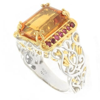 Michael Valitutti Silver Men's Emerald-cut Madeira Citrine and Ruby Ring