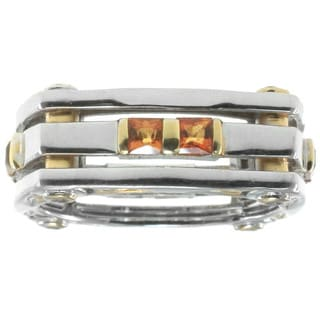 Michael Valitutti Gold over Silver Men's Madeira Citrine Ring