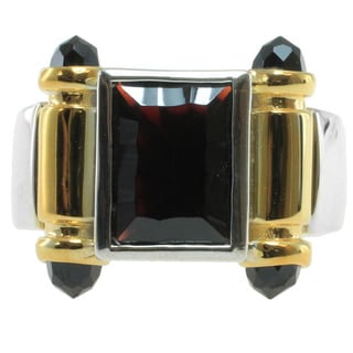 Michael Valitutti Gold over Silver Men's Garnet and Black Spinel Ring
