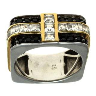 Michael Valitutti Gold over Silver Men's Black Spinel and White Topaz Ring