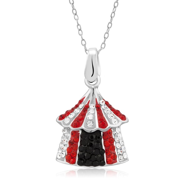 Platinum-plated Crystal Circus Tent Pendant Necklace