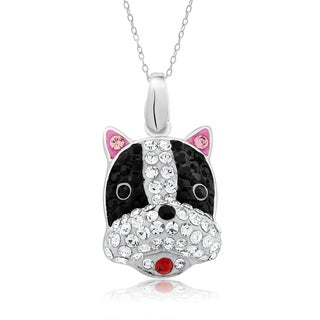 Platinum-plated Crystal Boston Terrier Face Pendant Necklace