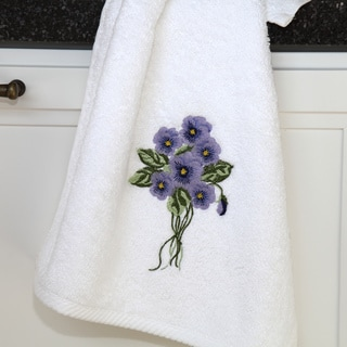 Authentic Hotel & Spa Soft Twist Turkish Cotton Hand Towel with Embroidered Bouquet of Violet Flowers