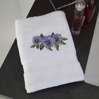 Authentic Hotel & Spa Terry Turkish Cotton Hand Towel with Embroidered Violet Flowers